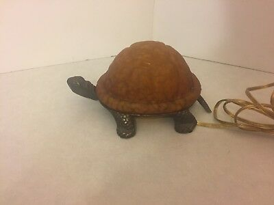 Table Lamp - Small Accent - Amber Turtle - Desk - Night Light