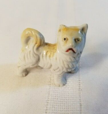 Fine China Miniature Dog Figurine  Chow Figure Stamped Red Japan 1010