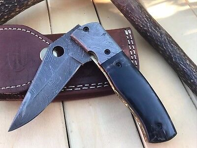 HUNTEX Handmade Damascus 4.5 Inch Long Buffalo Horn Hunting Folding Pocket Knife