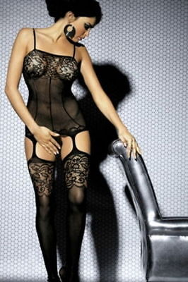 Black lace crotchless fishnet naughty body stocking intimate lingerie