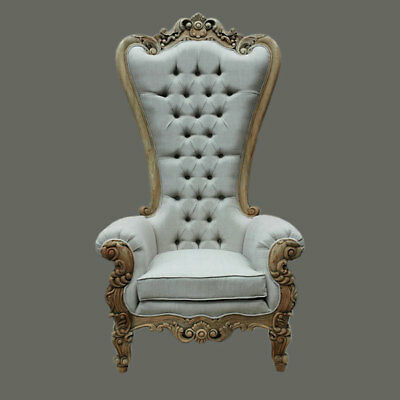 Palatial French Style Ornate Carved Mahogany Queen Linen Tall Chair 39'' x 70''H