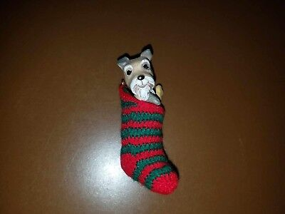 Hallmark Schnauzer Doggy In A Stocking Yarn Fabric Stocking Christmas Ornament