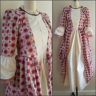True Vintage 1970's Cotton Handmade Colonial Costume Dress Red White Gingham