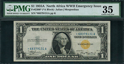 """1935A $1 North Africa WWII Emergency Issue FR-2306* - """"STAR NOTE"""" - PMG 35"""