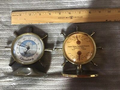 Vintage ships wheel clock And Temperature Humidity