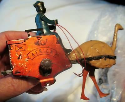 Antique Lehmann Germany Wind-Up Toy Africa Ostrich Mail Cart 1890 EPL 170 Parts