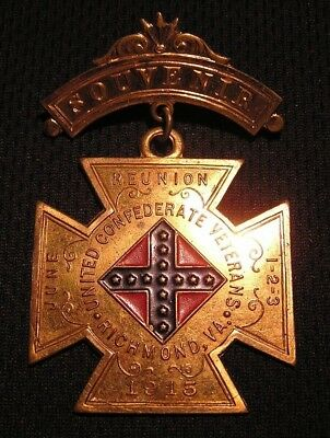 1915 UNITED CONFEDERATE VETERANS REUNION MEDAL - RICHMOND VA  ECV CSA Civil War