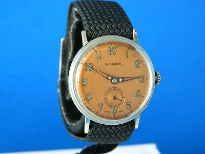 VINTAGE GLADIADOR 15J MILITARY STYLE FIXED LUGS MENS WATCH SERVICED RARE 1940s