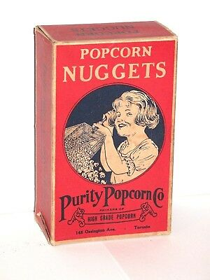 Antique / Vintage Popcorn Nuggets Candy Box Purity Popcorn Co Canada Advertising
