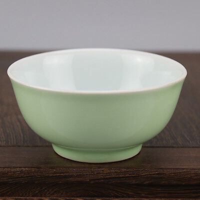 Chinese old hand-carved porcelain bean green glaze  A small bowl b02