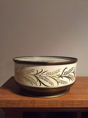 Vintage Guild Craft Tin/ Off White With Gold Leaves
