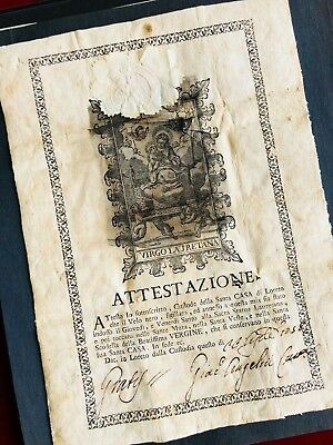 Relic + Document 1758 VEIL VIRGIN MARY HOLY HOUSE LORETO Catholic Reliquary POPE