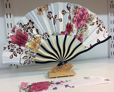 Japanese Silk Hand held Fan - Rusty Pink and Gold - with Silk Fan Holder