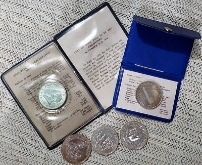 5 Different Philippines Silver Coins; Macarthur, Pope John Paul  * Free Ship *