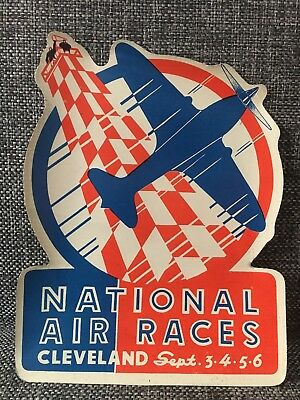 Rare Antique Decal 1937 National Air Races Cleveland Advertising Leisys Beer