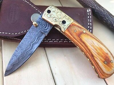 "HUNTEX Custom Handmade Damascus 4.3"" Long PakkaWood Hunting Folding Pocket Knife"