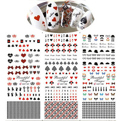 Nail Art Water Transfer Decal Sticker Butterfly Knot Playing Cards Tips Decor