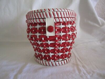 Small Red & White Lanyard Woven Sewing Basket