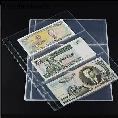 10pcs Banknotes Currency Holders Pages Album 3-Pocket Paper Money Sleeves