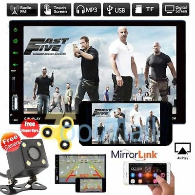 "2 DIN 7"" Touch Screen Car Radio Bluetooth Stereo MP5 Player AUX Mirror Link +CAM"