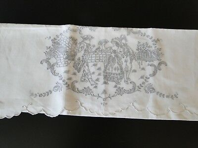 Antique Linens - Fine Appenzell Tea Towel With Figural In Period Dress