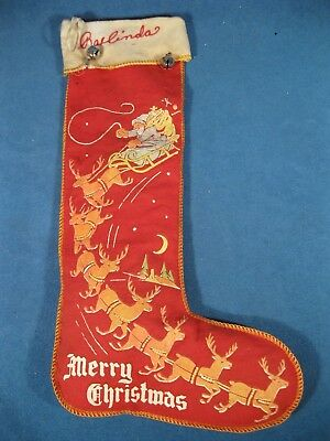 Antique, Vintage Christmas Stocking with Santa in Sleigh Pulled by 7 Reindeer