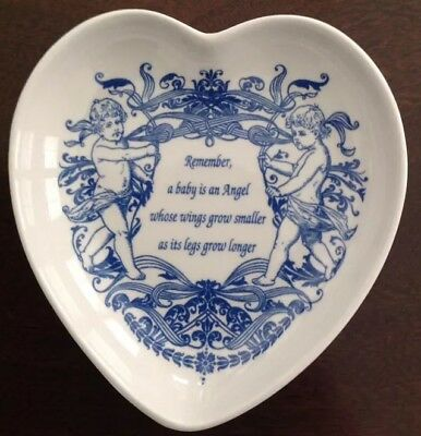 """Spode 4"""" Blue & White Heart Dish """"Remember a baby is an Angel whose wings grow"""""""