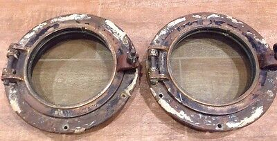 "Lot of 2 Authentic Maritime Antique Solid Brass 8"" Portholes with flange & Glass"