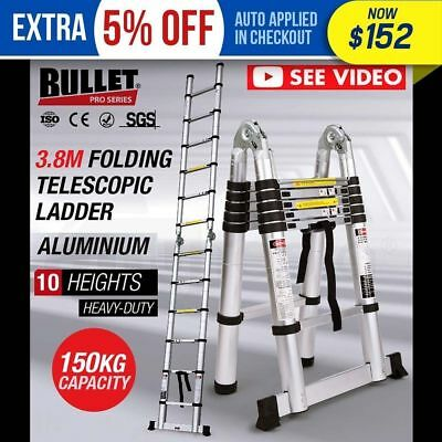 ***3.8m Multipurpose Telescopic Folding Ladder Aluminium Alloy Extension Steps