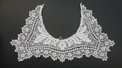 Antique or Vintage Lace Collar Schiffli Victorian Edwardian Floral Leaves 14""