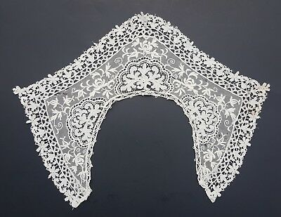 Antique Lace Collar Schiffli Embroidered Net Victorian Edwardian Rose Floral 16""
