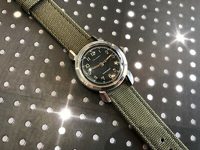Vintage Glycine Wristwatch Colomby Military Men's Solid Stainless Very rare Case