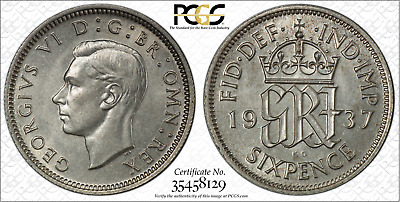 1937 Sixpence 6D Great Britain UK PCGS MS64 CHOICE UNCIRCULATED SILVER