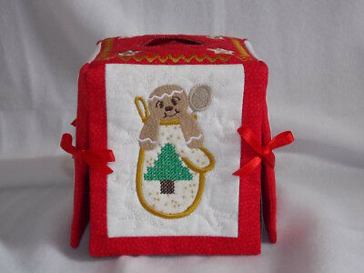 SALE - Tissue Box Cover - Christmas - Gingerbread - Handmade - LAST ONE