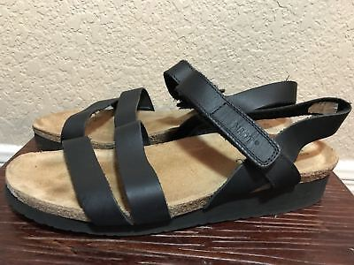 9bc7b4bb0490 NAOT Kayla Black Leather Strappy Wedge Sandals Women s 13 EU 44 MSRP  135  EXC