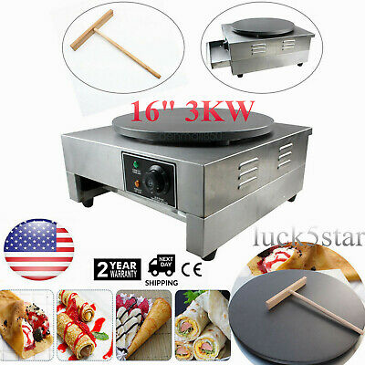"Commercial Electric Crepe Maker 16"" 3KW Pancake Making Machine Nonstick Griddle"