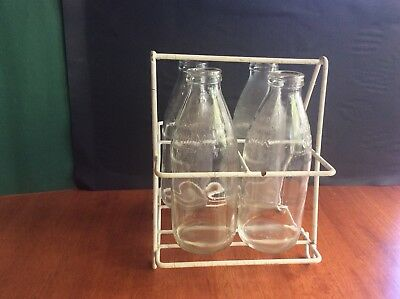 Vintage Milk Bottle Carrier With Bottles
