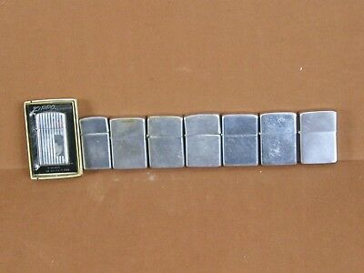 Lot of 8 All Zippo Vintage Lighters 1960's 70's 1 Slim Boxed