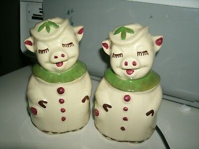 """Shawnee Pottery Smiley Pig 5"""" Salt and Pepper Shakers with green ( 2) girl's"""