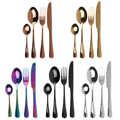 4x Stainless Steel Cutlery Set Black Rose Gold Knife Fork Spoon IW