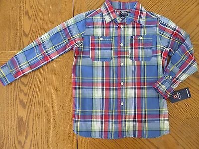 NEW Chaps size 5 boy collared long-sleeved button-up plaid dress shirt $34 NWT