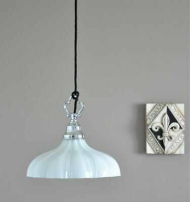Phillip-Provincial Pendant Light-Bright Chrome-White Railway Shade-French Style
