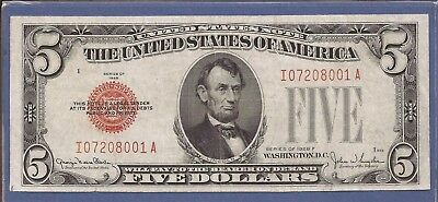 1928 F $5 United States Note (USN),Wide I Variety,Large Red Seal,Very Fine,Nice!