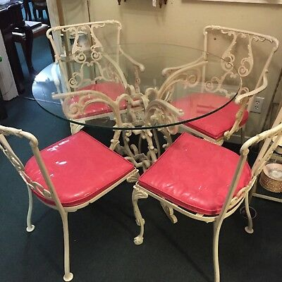 Vintage Molla Cast Aluminum Patio Dining Table & 4 Chairs Heavy Thick Glass Top