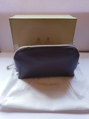 Penhaligons Brown Leather Large Cosmetic or Wash Bag. Boxed and with dust bag.