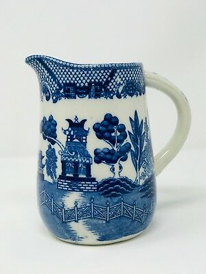 Rare Antique Blue Willow Teapot Carafe Saki Pitcher~ Made in Japan Ironstone