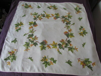 Lady Lee Linen Kitchen Tablecloth Vintage 50-60 Th Printed Maple Leaf Green
