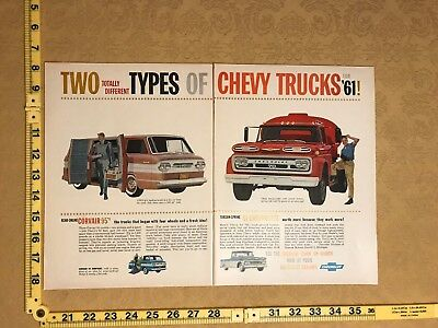 1961 Chevy  Vintage Truck Double Page Print Ad Classic