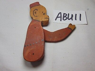 Vintage Antique Primitive Wood Figure-Parts Monkey W/hat Rare Old Carved