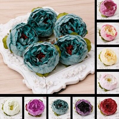 5 Pcs Artificial Peony Flower Heads DIY Craft For Home Room Wedding Party Decor